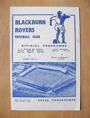 BLACKBURN ROVERS v WEST BROMWICH ALBION FA Cup 1951/1952 VG Condition Programme