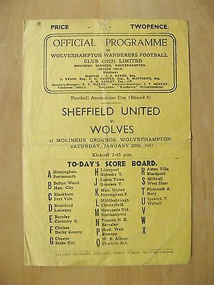 WOLVES v SHEFFIELD UNITED FA Cup 1946/1947 *Good Condition Football Programme*