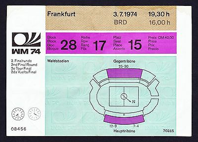 1974 World Cup POLAND v WEST GERMANY *Good Condition UNUSED Ticket*