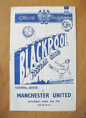 BLACKPOOL v MANCHESTER UNITED 1953/1954 *VG Condition Football Programme*