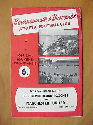BOURNEMOUTH v MANCHESTER UNITED FA Cup 1956/1957 *Good Cond Football Programme*