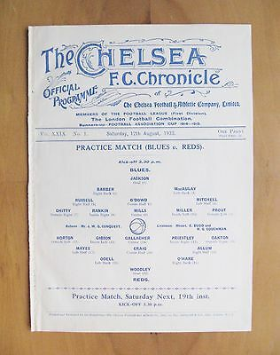 CHELSEA - Practice Match Friendly 1933/1934 (12th August) *Good Cond Programme*