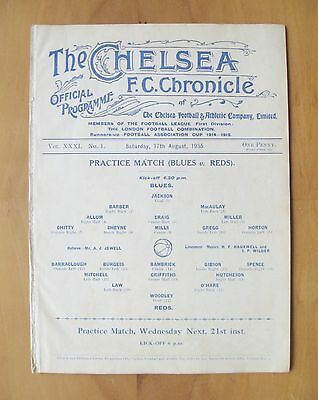 CHELSEA - Practice Match Friendly 1935/1936 (17th August) VG Condition Programme