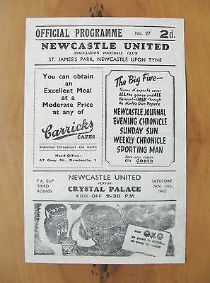 NEWCASTLE UNITED v CRYSTAL PALACE FA Cup 1946/1947 *Exc Cond Football Programme*