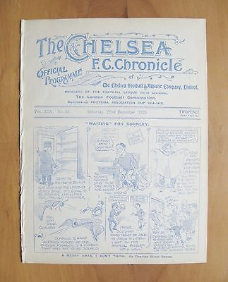 CHELSEA v BURNLEY 1923/1924 *Excellent Condition Football Programme*