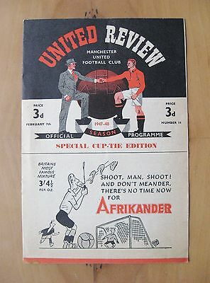 MANCHESTER UNITED v CHARLTON ATHLETIC FA Cup 1947/1948 *Exc Condition Programme*