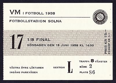 1958 World Cup SWEDEN v WALES *Near Mint Condition Ticket*