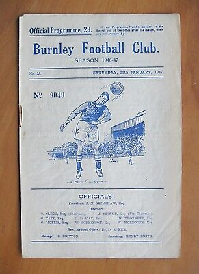 BURNLEY v COVENTRY CITY FA Cup 1946/1947 *VG Condition Football Programme*