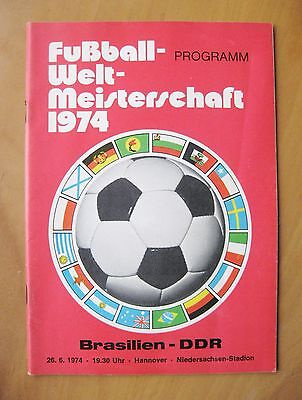 1974 World Cup BRAZIL v EAST GERMANY (Red Cover) VG Condition Football Programme