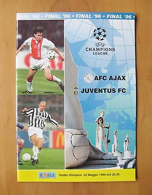 1996 Champions League Final AJAX v JUVENTUS *Exc Condition Football Programme*