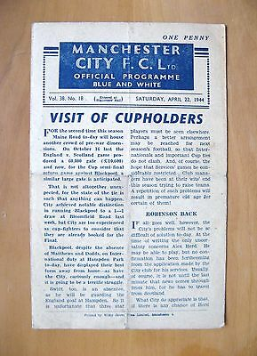 MANCHESTER CITY v BLACKPOOL FA Cup Semi-Final 1943/1944 *VG Cond Programme*