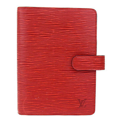 Auth LOUIS VUITTON Agenda MM Day Planner Cover Epi Leather Red R2004M 60R666