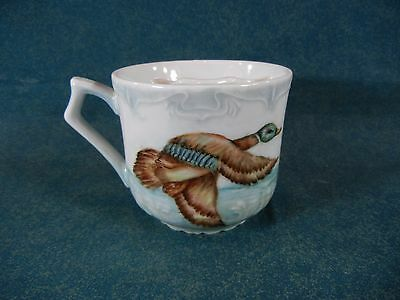 Mustache Cup Hand Painted Duck Scenes Signed by Artist Evelyn Grant