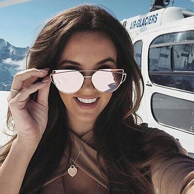 Women Mirror Sunglasses Cat Eye Designer Fashion Mirror Lens Love Punch Style