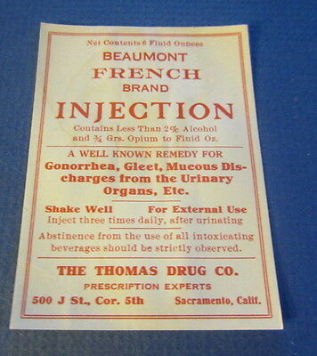 Old Beaumont INJECTION - Drug Store Rx Pharmacy LABEL - Sacramento CA. - Opium