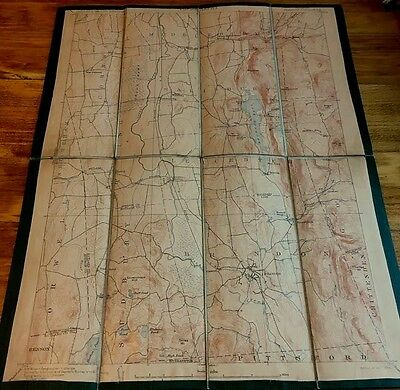 1902 Topography Linen Backed Map Vermont Brandon Quadrangle Folding Map