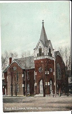 Early 1900's The First Methodist Church in Seymour, IN Indiana PC