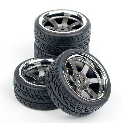 4Pcs Rubber Tire Rims For HPI Racing 1:10 RC On Road Car 6mm Offset PP0038/150