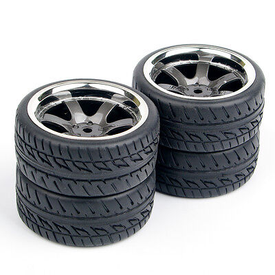4Pcs Rubber Tires Wheel Rim For HPI Rally Racing 1:10 RC On Road Car  PP0038/150