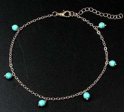 Women Retro Turquoise Beads Ankle Chain Anklet Bracelet Foot Jewelry ☆
