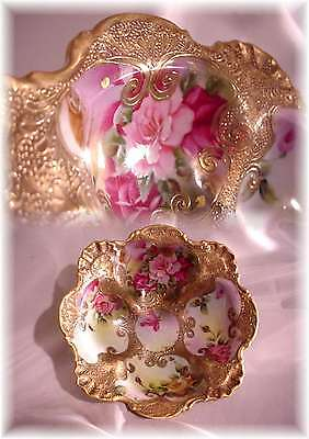 Antique Hand Painted Nippon Bowl Pink Roses Fancy Beaded Gold Maple Leaf Mark