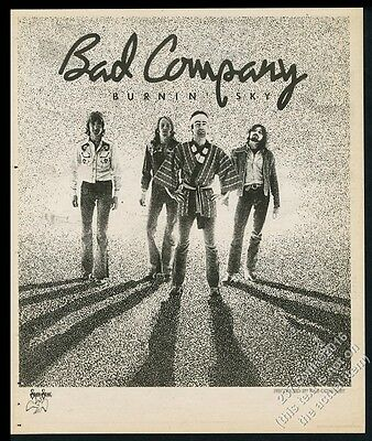 1977 Bad Company photo Burning Sky Swan Song album release vintage print ad