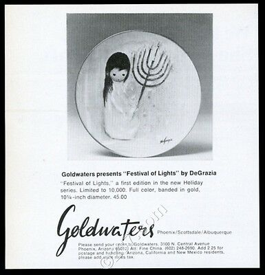 1976 Ted DeGrazia Festival of Lights plate photo Goldwaters vintage print ad