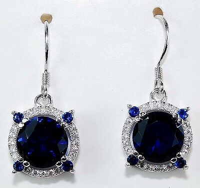 4CT Blue Sapphire & White Topaz 925 Solid Sterling Silver Earrings
