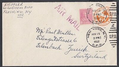 USA 1952 TWO PREXIE UPRATED 6c AIRMAIL PS ENVELOPES TO ERLENBACH SWITZERLAND