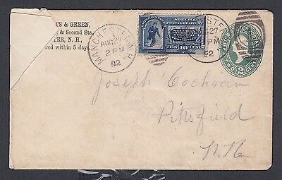 Usa 1892 Rpo #e2 Special Delivery Uprated Ps Cover Manchester To Pittsfield Nh