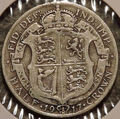British Silver Half Crown - 1917 - King George V - $1 Unlimited Shipping