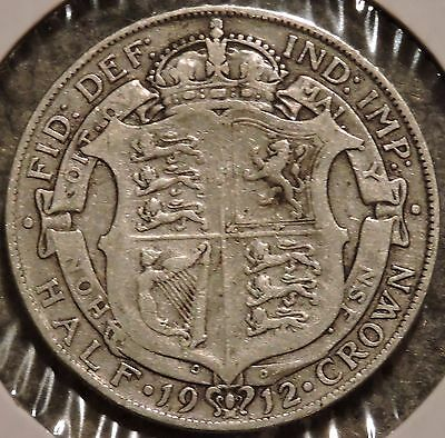 British Silver Half Crown - 1912 - King George V - $1 Unlimited Shipping