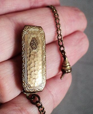 Vtg Art Deco Watch Chain Fob Gold Filled Engraved & Hammered Belt Clip - Repair