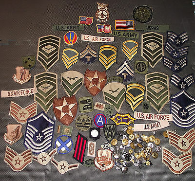 Us Army Air Force Navy Marines Lot Of Over 120 Patches, Pins, Buttons L@@k