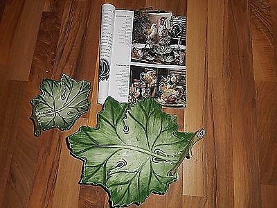 INTRADA Italian Italy Pottery CAMPAGNA VERDE Rooster Leaf Accent Dish RetiredNEW