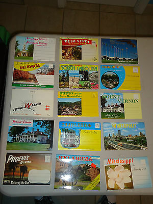 15 Vintage Assorted Postcard Folders Lot #6 New 1960's - 1970's