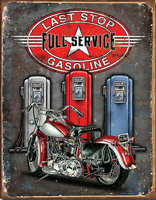 Motorcycle Sign Gas Pumps Last Stop Rustic Metal Vintage Advertising Tin USA New
