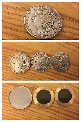 magic collectible morgan coin lot split magnetic & expanded steel shimmed shell