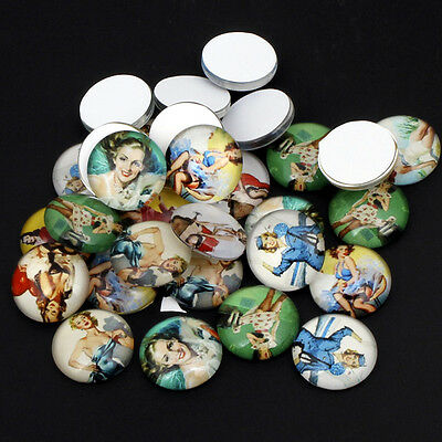30 GLAS CABOCHONS PIN UP 50er RETRO VINTAGE MIX 14mm - p00122x8