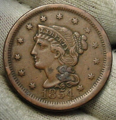 1854 Large Cent, Braided Hair Penny - Nice Coin, Free Shipping  (3867)