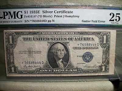 1935 E $1 Silver Certificate Star * note, Gutter fold error, Off center