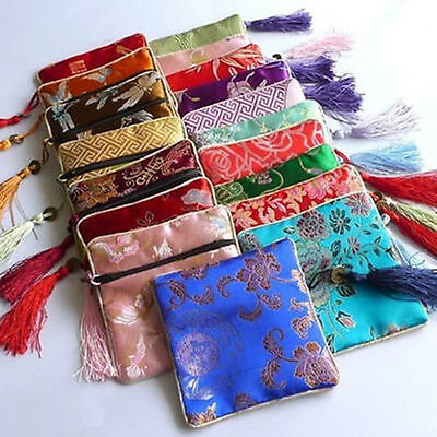 new 10 pcs SILK WALLET Zipper Coin Purse Pouch Bag Case Brocade Fabric