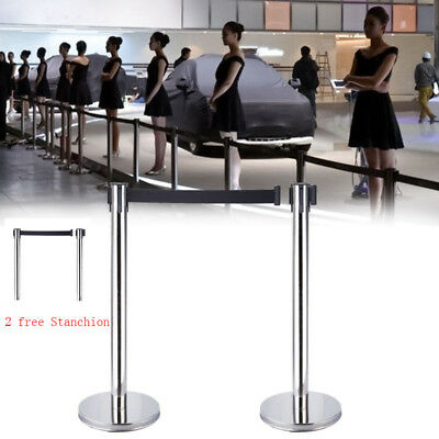 2x Queue Barriers Crowd Control stanchions Stainless Steel Retractable Belt