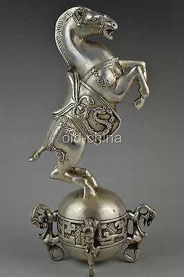229 mm Collectible Decorate Handwork Old Tibet Silver Carve Horse Big Statue