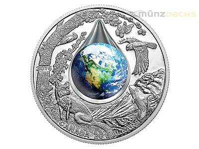20 $ Dollar Mother Earth Mutter Erde Wassertropfen Kanada 1 oz Silber PP 2016
