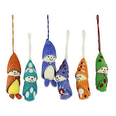 Wool Christmas Ornaments Handmade Set of 6 'Babes in Snowsuits' NOVICA India
