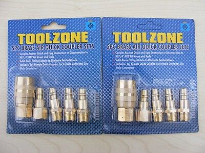 Toolzone Pro 10pc Air Line End Quick Coupler Set Compressor Coupling 1/4 NPT BSP