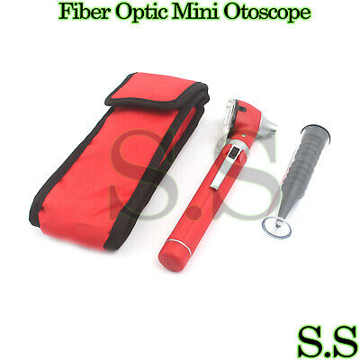 Fiber Optic Otoscope Mini Pocket RED Medical Ent Diagnostic Set+1BULB