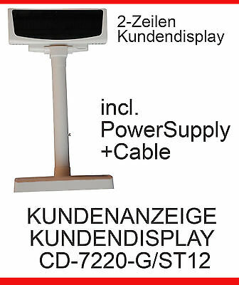 Kundenmonitor Customerdisplay Cd-7220-G/st12 + Pwr Supply Datacable Pole