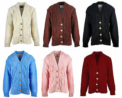 Girls Boys V Neck Collar Chunky Knit Button Winter Knitted Cardigan 7 - 12 Years